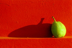 Pear on Red Wall - Click to enlarge